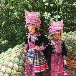 girls at Wat Prathat Doi Suthep temple Chiang Mai Thailand