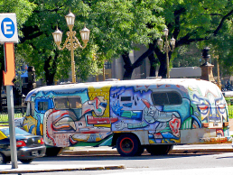 Buenos Aires street art painted bus