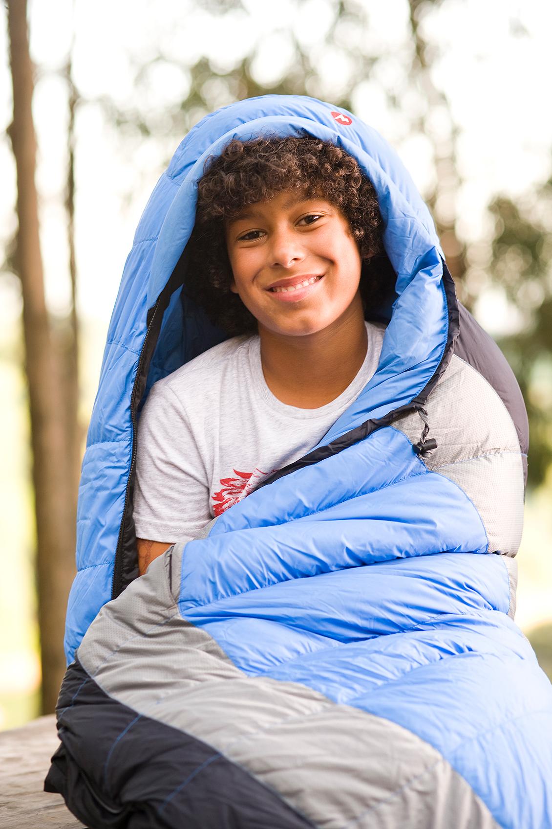 boy camping in sleeping bag