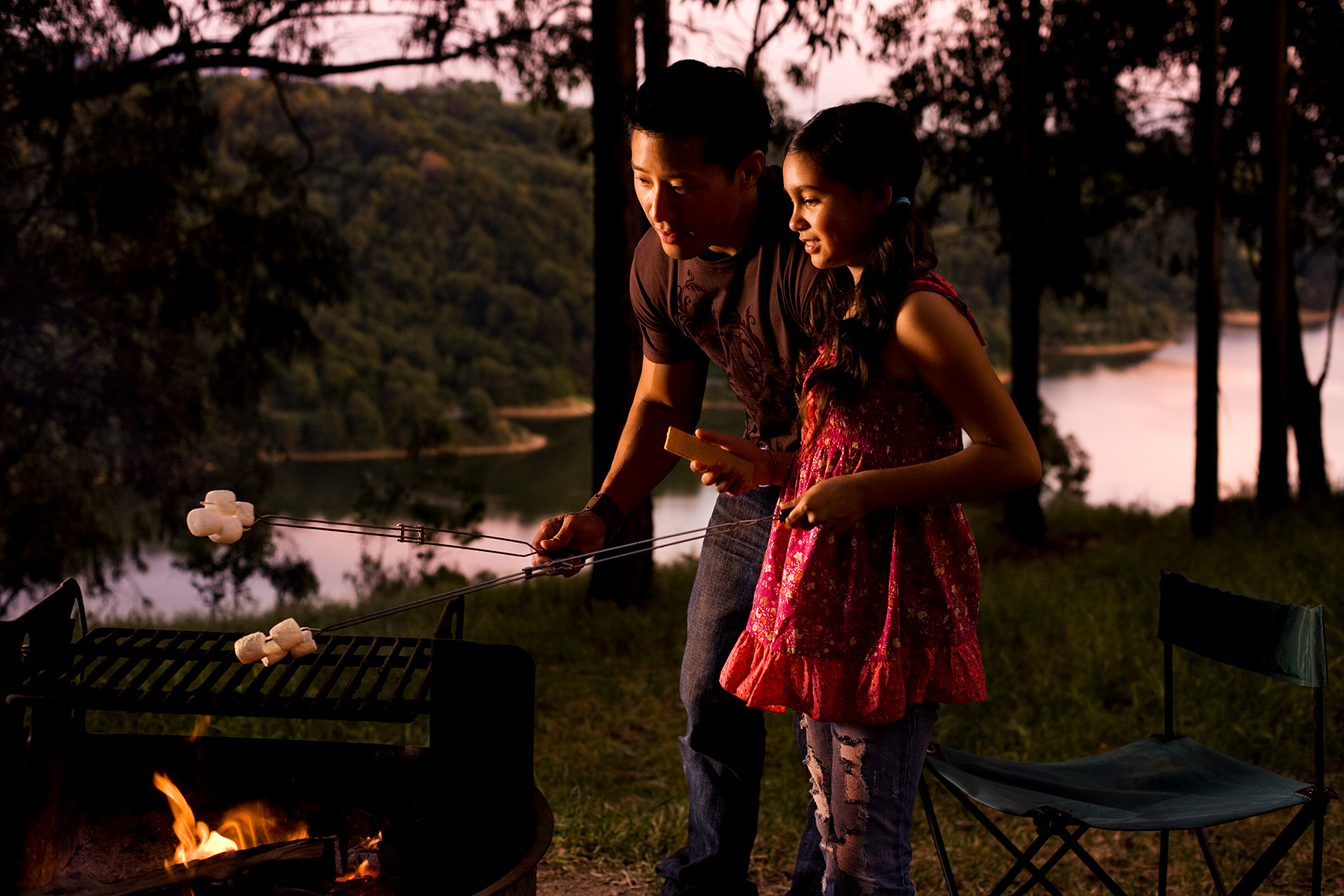father and daughtercamping lifestyle photography