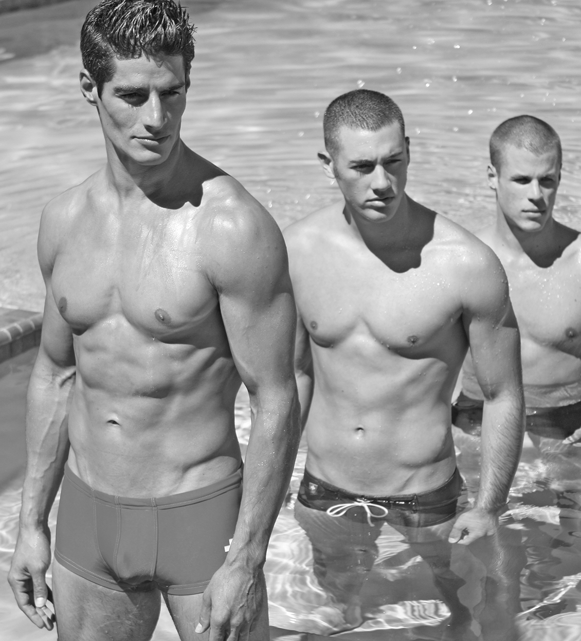 handsome males at pool creative director photography