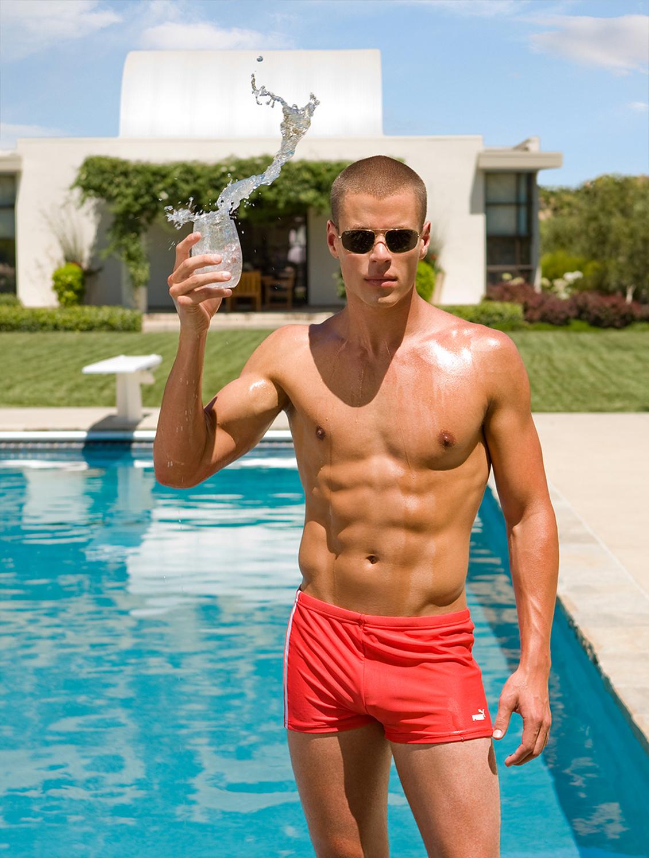 hot guy at pool creative diretor photography