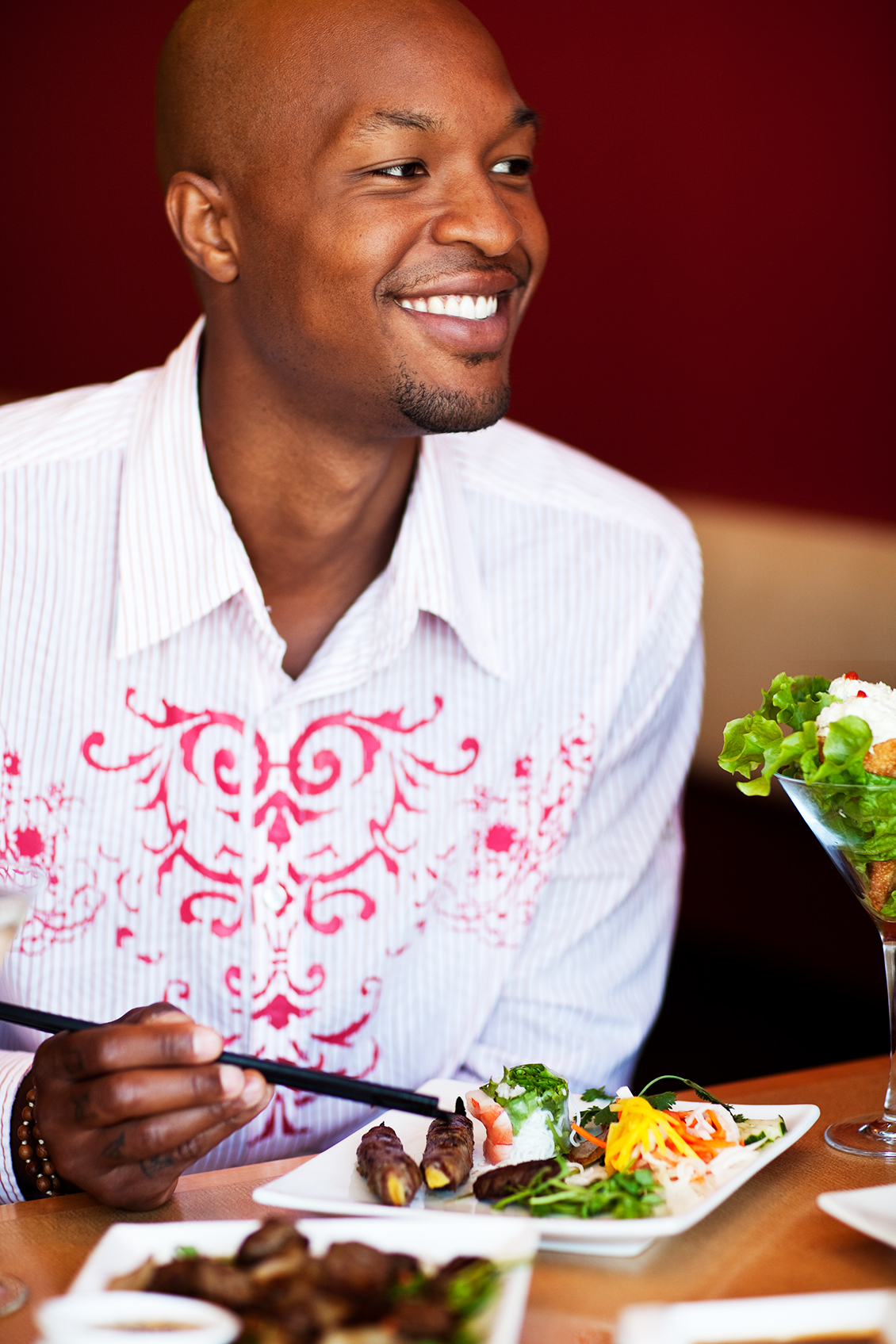 smiling man eating lifestyle photography