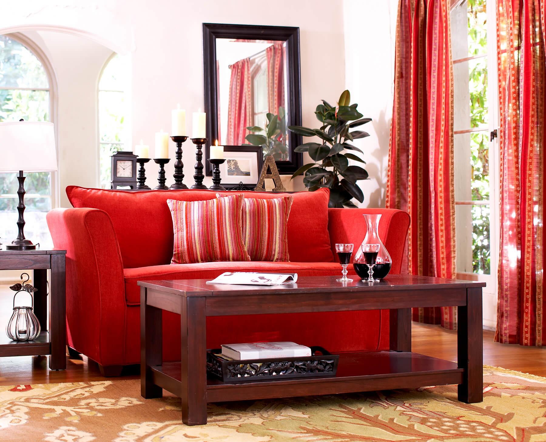 red sofa interior design photography