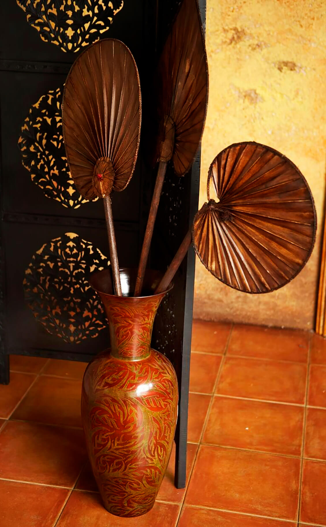 vase and fans interior design photography